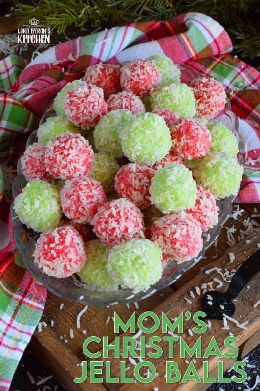 No baking, no melting, and just one mixing bowl! Mom's Christmas Jello Balls are one of the easiest cookies you'll make this holiday season! And, not only that, they taste great too! Use any flavour or colour of Jello you want! #jello #coconut #balls #christmas #holiday #nobake #kids