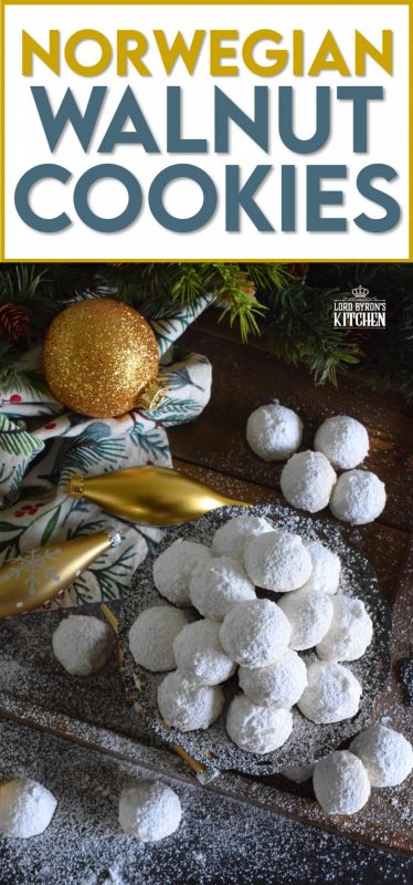 This cookie is all about the walnuts. Norwegian Walnut Cookies are loaded with them and liberally dusted with confectioner's sugar. They're a perfect pop-in-your-mouth, one-bite cookie! These are great for packing into little bags or boxes as a gift! #walnut #butter #cookies #norwegian #christmas #holiday #baking
