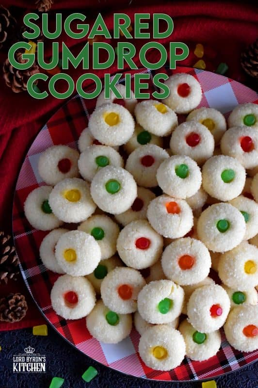 Sugared Gumdrop Cookies are butter cookies which have been generously tossed in sanding sugar with a festive gumdrop baked right into the center! These cookies are adorably festive, easy and budget-friendly, and bite-sized too! #cookies #sugared #gumdrops #christmas #holiday #baking