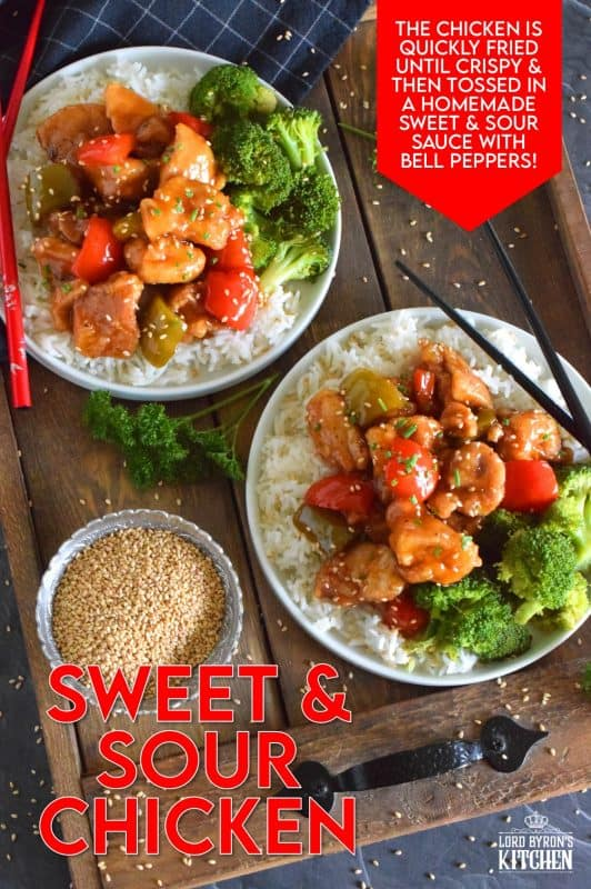 A really great Sweet and Sour Chicken recipe has two parts. Firstly, the chicken must be fried with a light and crispy batter. Secondly, the sauce must be both sweet and sour, but also thick and glossy. With this easy, Asian-inspired, do-it-yourself recipe, you won't need to order Chinese delivery again! #sweetandsour #chicken #chickenrecipes #chinesefood #asian #asianinspired #chickenthighs #homemade #takeoutathome