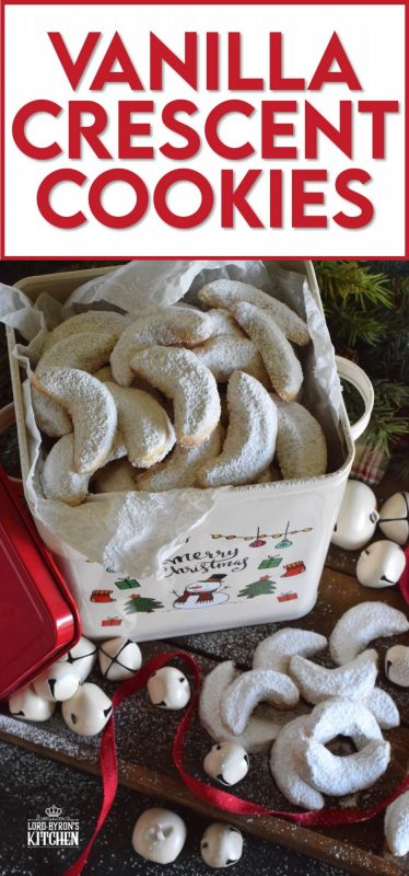 Extemely popular at Christmastime, Vanilla Crescent Cookies are loaded with vanilla flavour! These melt-in-your-mouth cookies are made with lots of heart-healthy ground nuts and vanilla sugar! #vanilla #sugar #crescent #cookies #christmas #holiday #baking