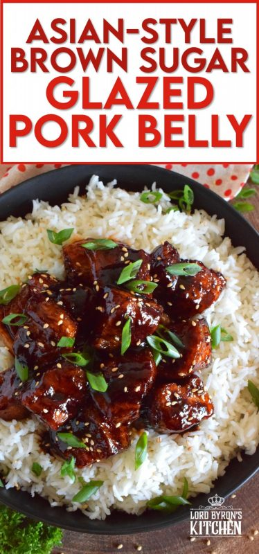 This sweet and sticky Glazed Pork Belly is cooked in two stages. First, the meat is boiled with seasonings and then fried before being cooked in a brown sugar, soy sauce, and rice wine reduction. Served with steamed rice, this is a meal that would please the toughest critic! #porkbelly #asiancooking #pork #glazed #homemade #takeout #porkrecipes