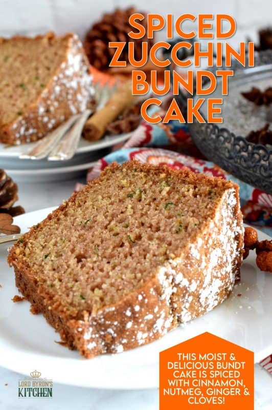 Warming spices such as cinnamon, nutmeg, and ginger come together in this Autumn Spiced Zucchini Bundt Cake to create an inviting slice of fall, using the end of summer's fresh produce. #zucchini #cake #bundt #fall #spiced #autumn #baking