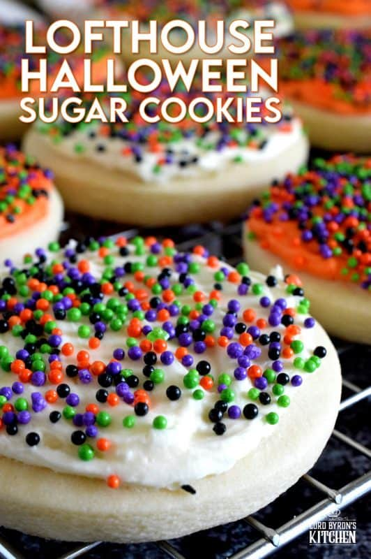Copycat Lofthouse Halloween Sugar Cookies, a popular grocery store and bakery cookie confection in a homemade version, proving that homemade is always better! The next time you're in line at the grocery store, look away from the store-bought ones, knowing full well that you can make them better yourself! #lofthouse #cookies #copycat #halloween #sugarcookies #sprinkles