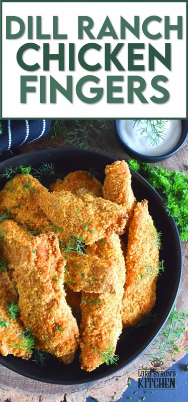 Oven baked until crisp, Dill Ranch Chicken Fingers are first soaked in buttermilk and then breaded in a mixture consisting of crushed corn flakes, chives, parsley, dill, garlic, onion, and a little bit of optional cayenne pepper.  Serve these will a buttermilk dill ranch dressing for the ultimate grown up chicken finger! #dillranch #chickenfingers #chicken #bakednotfried #ovenbaked #recipesformoms #dill