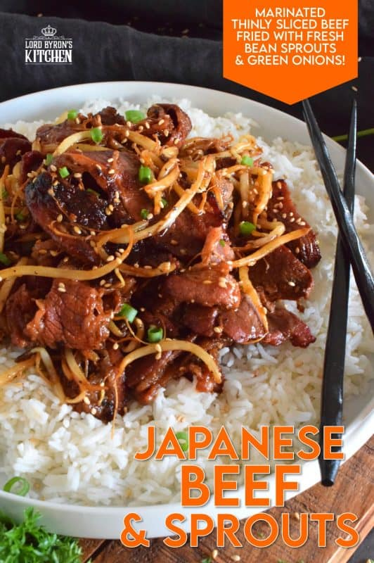 Prepared with thinly sliced beef which has been marinated to flavour and tenderize, Japanese Beef and Sprouts is wonderfully delicious when served over steamed rice. Add more flavour with toasted sesame seeds and a burst of freshness with sliced green onions! #japanese #japanesebeef #beef #teppanyaki #whatsfordinner