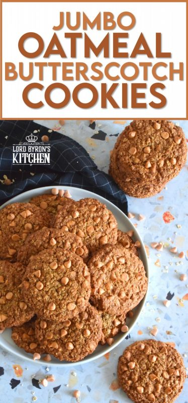 Butterscotch is sweet and indulgent, it's a flavour combination that combines that of browned butter, molasses, and caramelized sugar. Jumbo Oatmeal Butterscotch Cookies are prepared with simplified versions of those ingredients, but also with butterscotch chips and butterscotch pudding too! #butterscotch #oatmealcookies #cookies #jumbocookies #butterscotchchips