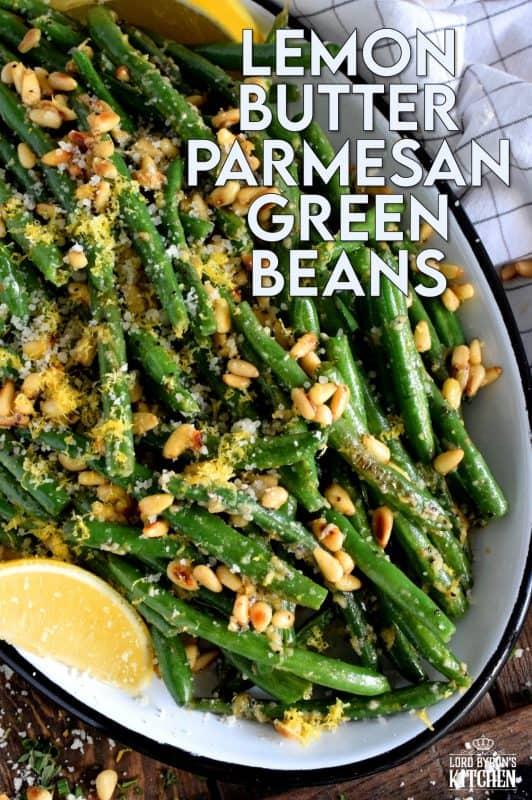 One of the easiest and most satisfying side dishes is green beans - especially with lemon butter, parmesan, and pine nuts! Sautéed Lemon Butter Parmesan Green Beans are the new green bean casserole! #greenbeans #thanksgiving #recipes #sauteed #fried #cheese