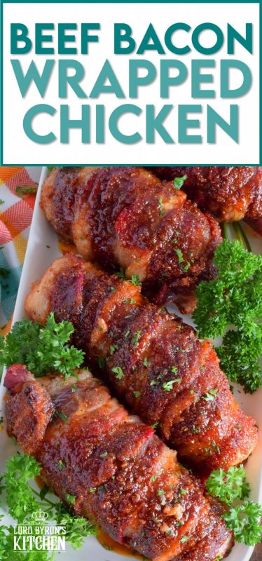 Moist and tender chicken breasts wrapped in beef bacon, which is flavoured with brown sugar, paprika, garlic, and onion. Perfectly baked until the bacon has browned and caramelized, this main is easy to prepare and absolutely delicious. There's just one problem - there never seems to be enough! #beefbacon #beef #bacon #chicken #whatsfordinner