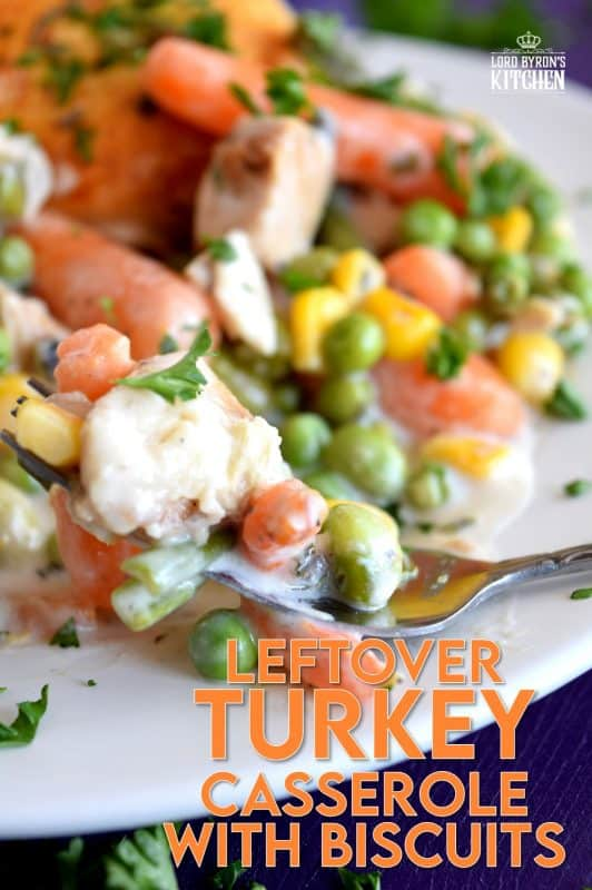 A home-style, family-favourite casserole was never this easy! Use leftover turkey and store-bought biscuits, canned condensed soup, and frozen veggies to prepare this hearty Leftover Turkey Casserole with Biscuits the whole family will love! #leftover #turkey #recipes #casserole #pillsbury